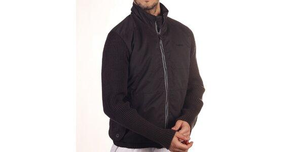 Pánska čierna bunda s úpletovými rukávmi Reebok