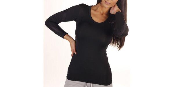 Dámske čierne tričko s dlhým rukávom Reebok