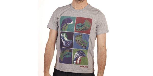 Pánske šedé tričko s farebnou potlačou Reebok