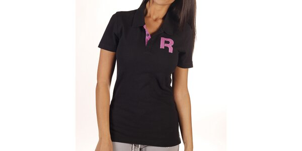 Dámske čierne polo tričko s písmenom Reebok