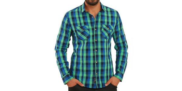 Pánska modro-zeleno kockovaná košeľa Premium Company
