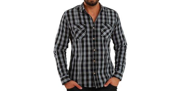 Pánska šedo kockovaná košeľa Premium Company