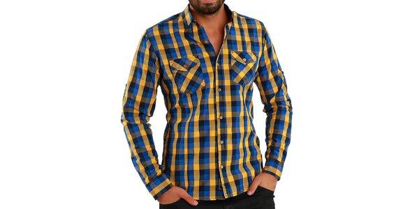 Pánska modro-žlto kockovaná košeľa Premium Company