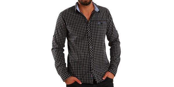 Pánska košeľa s šedo-čiernymi kockami Premium Company