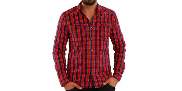 Pánska červeno kockovaná košeľa Premium Company