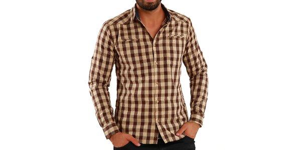 Pánska hnedo kockovaná košeľa Premium Company