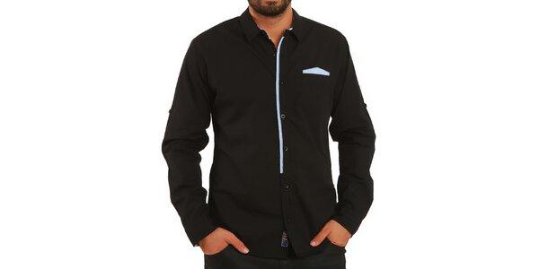 Pánska čierna košeľa s kontrastnými prvkami Premium Company