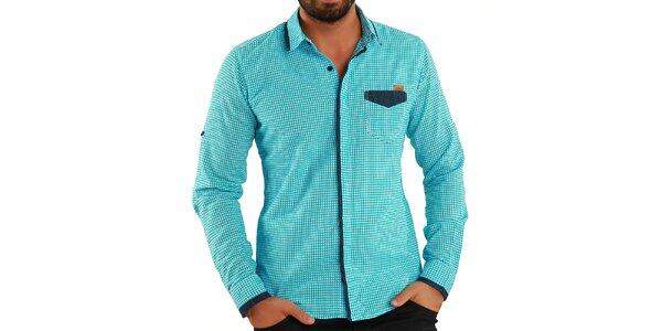 Pánska tyrkysová košeľa s kockami Premium Company