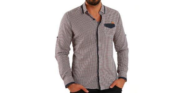 Pánska hnedá košeľa s kockami Premium Company