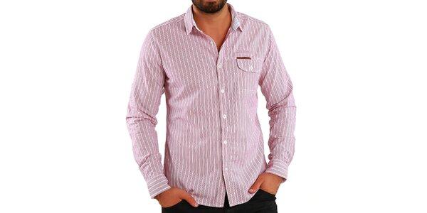 Pánska červeno pruhovaná košeľa Premium Company