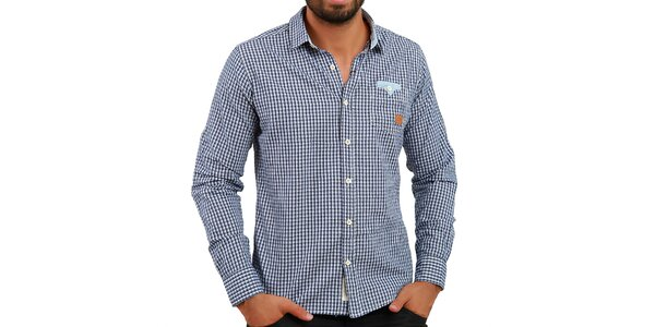Pánska modrá kockovaná košeľa Premium Company