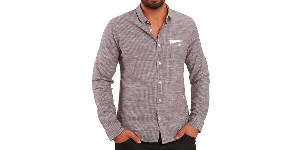 Pánska hnedá košeľa so zvislými prúžkami Premium Company