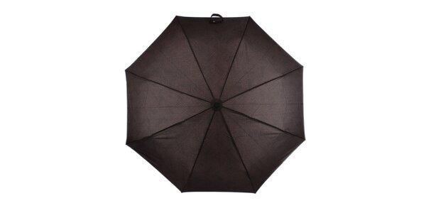 Pánsky hnedý skladací dáždnik s nápismi Ferré Milano