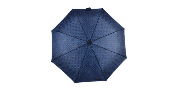 Pánsky skladací vzorovaný dáždnik v modrej farbe Ferré Milano