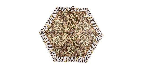 Dámsky malý skladací dáždnik so zvieracím vzorom Ferré Milano