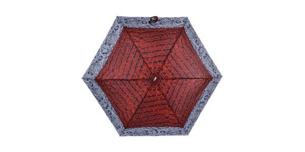 Dámsky malý skladací dáždnik s červeným krokodílym vzorom Ferré Milano