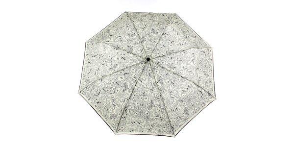 Dámsky krémový dáždnik s čiernymi kvetmi Ferré Milano