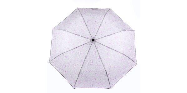 Dámsky biely dáždnik s fialovými kvetmi Ferré Milano