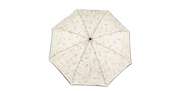 Dámsky krémovo-hnedý dáždnik s kvetinovou potlačou Ferré Milano
