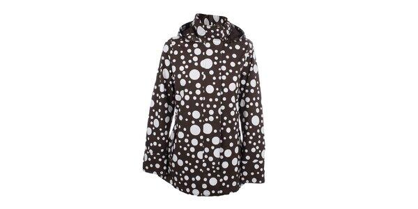 Dámska hnedá bodkovaná bunda do dažďa Happy Rainy Days