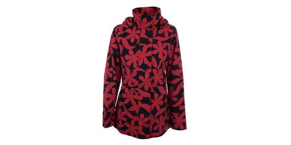 Dámska červeno-čierna bunda s kvetmi do dažďa Happy Rainy Days