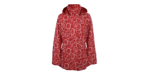 Dámska červená vzorovaná bunda do dažďa Happy Rainy Days