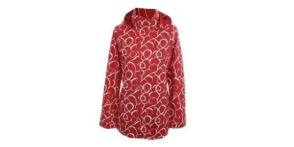 Dámska červeno-biela vzorovaná bunda do dažďa Happy Rainy Days