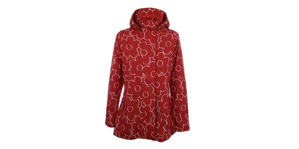 Dámska červeno-biela kvetinová bunda do dažďa Happy Rainy Days