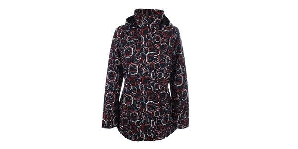 Dámska čierna vzorovaná bunda do dažďa Happy Rainy Days