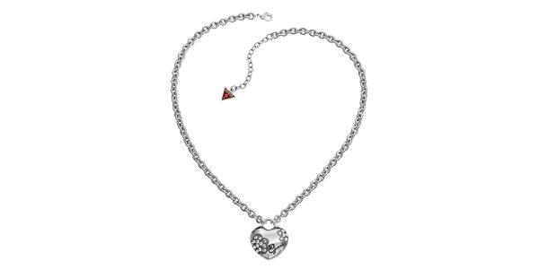 Dámsky oceľový náhrdelník Guess so srdiečkom
