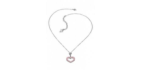 Dámsky oceľový náhrdelník Guess so srdiečkom a ružovými kamienkami
