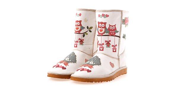 Dámske krémové topánky Elite Goby so sovičkami