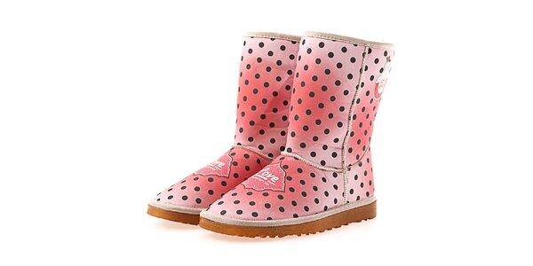 Dámske ružové bodkované topánky Elite Goby