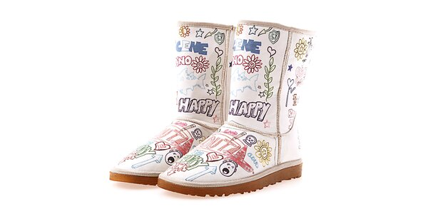 Dámske krémové topánky Elite Goby s obrázkovou potlačou