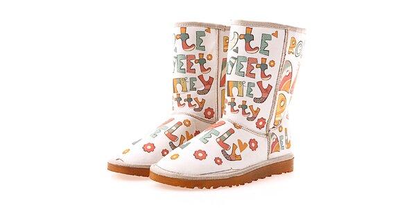 Dámske krémové topánky s písmenkami Elite Goby
