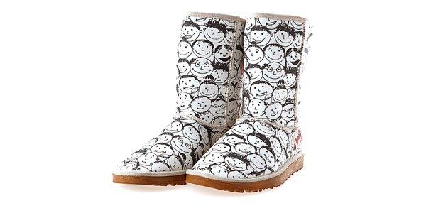 Dámske biele topánky s potlačou hovoriacich hláv Elite Goby
