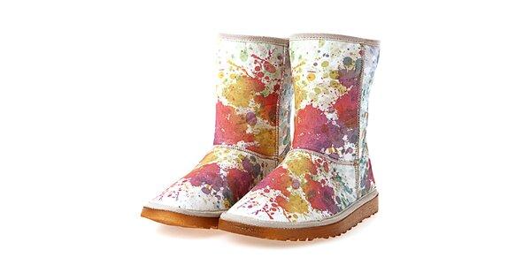 Dámske krémové topánky s farebnou maliarskou potlačou Elite Goby
