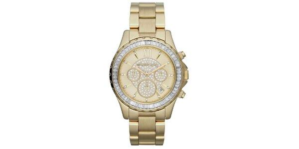 Dámske pozlátené hodinky so zirkónmi Michael Kors