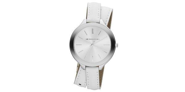 Dámske analógové hodinky s prekríženým bielym remienkom Michael Kors