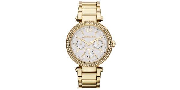 Dámske pozlátené hodinky s bielymi zirkónmi Michael Kors