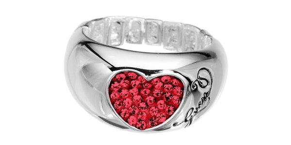 Dámsky prsteň s červeným srdcom Guess
