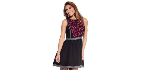 Dámske čierne šaty s farebným vzorom Janis