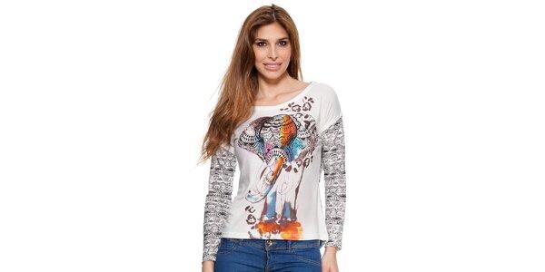 Dámske biele vzorované tričko s dlhým rukávom Janis