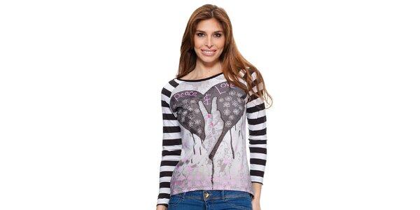 Dámske tričko s dlhým pruhovaným rukávom Janis