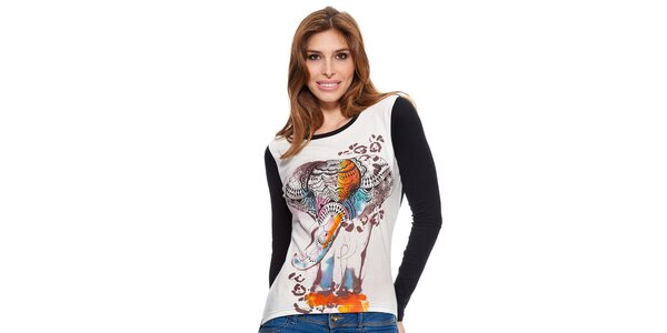 Dámske čierno-biele tričko s dlhým rukávom Janis