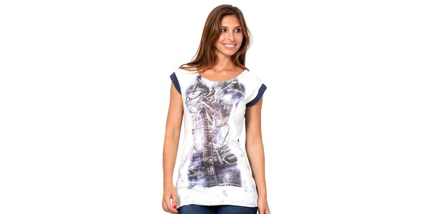 Dámske dvojfarebné tričko s potlačou Janis
