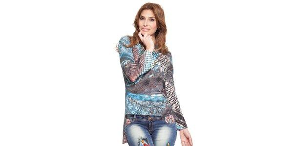 Dámske vzorované asymetrické tričko Janis