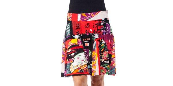 Dámska farebná sukňa s japonskými motívmi Janis
