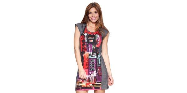 Dámske antracitové šaty s farebnou potlačou Janis