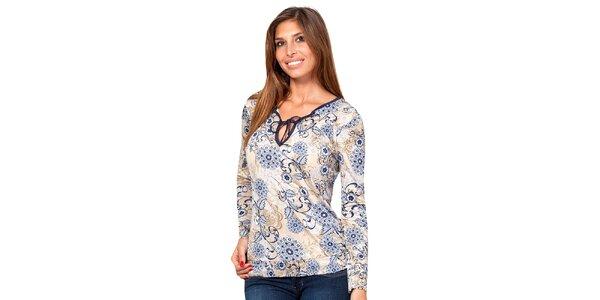 Dámske elegantné tričko s modrým kvetinovým vzorom Janis
